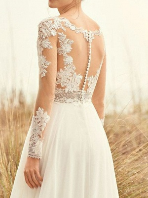 Summer wedding dresses chiffon | Lace wedding dresses with sleeves_3