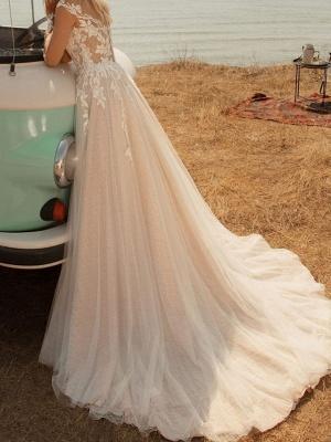 Fashion Brautkleider mit Ärmel | Spitze Hochzeitskleider A Linie_4