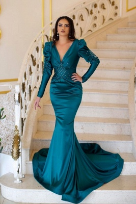Green evening dresses with sleeves | Prom dresses long cheap_1