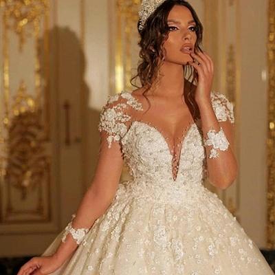 Luxus Hochzeitskleider mit Ärmel | Prinzessin Brautkleid Spitze_2