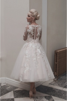 Elegant wedding dresses short lace | A line wedding dresses with sleeves_2