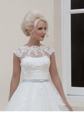Vintage wedding dresses short | A line wedding dresses with lace_3