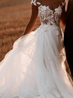 Designer wedding dresses with lace | Wedding dresses tulle cheap online_1