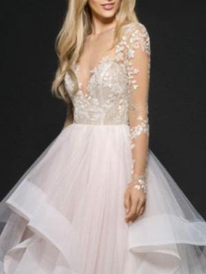 Designer Brautkleider mit Spitzerärmel | Tülle Hochzeitskleid A Linie_2