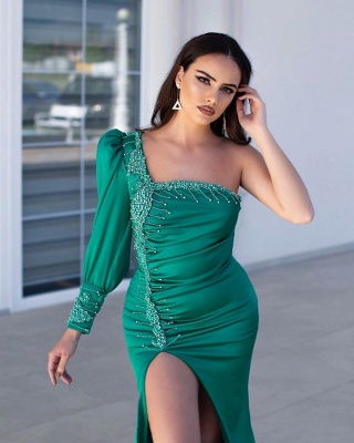 Designer evening dresses green | Evening dress long cheap_2