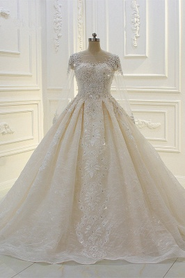Beautiful wedding dresses with glitter | Wedding dresses A line lace