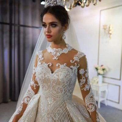 Luxus Hochzeitskleid A linie | Brautkleider Spitzeärmel Günstig_3