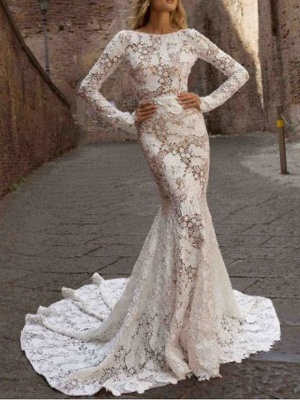 Designer wedding dress mermaid | Lace wedding dresses with sleeves_1