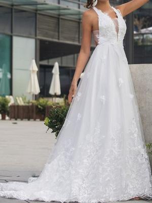 Brautkleider V Ausschnitt | Hochzeitskleid Mit Spitze A Linie_4