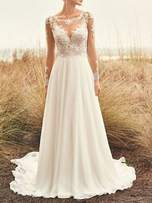 Summer wedding dresses chiffon | Lace wedding dresses with sleeves_1