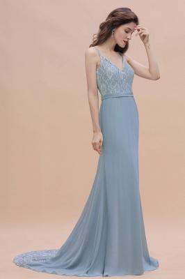 Steel Blue Brautjungfernkleider Lang Chiffon | Schlichtes Abendkleid_8