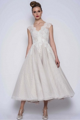 Simple wedding dresses A line | Short wedding dresses with lace_1