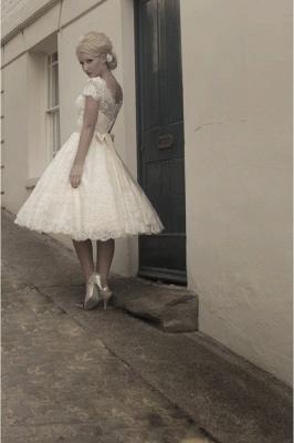 Beautiful wedding dresses A line | Lace wedding dresses short_5