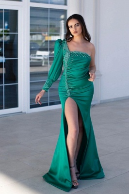 Designer evening dresses green | Evening dress long cheap_1