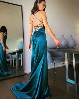 Simple evening dresses long green | Evening wear online_3