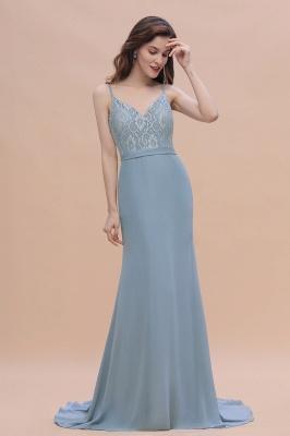 Steel Blue Brautjungfernkleider Lang Chiffon | Schlichtes Abendkleid_6