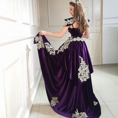 Purpur Abendkleider Lang Günstig | Velvet Abiballkleider Online_3