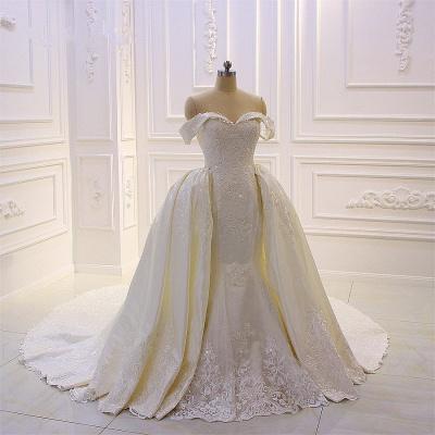Schöne Hochzeitskleider A Linie Spitze | Brautkleider Cream_2