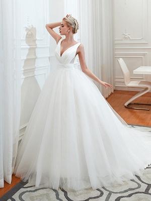 Schlichte Hochzeitskleid V Ausschnitt | Brautmoden A Linie_3