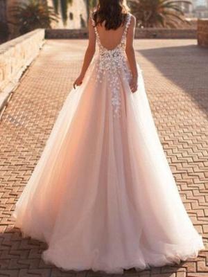 Designer Hochzeitskleider V Ausschnitt | Spitze Brautkleid A Linie_2