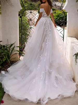 Elegant wedding dresses with lace | Tulle sheath dresses cheap online_2