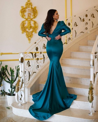 Green evening dresses with sleeves | Prom dresses long cheap_3