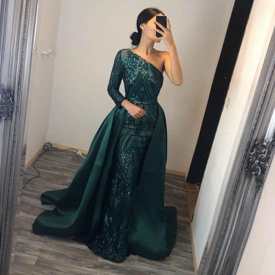 Elegant evening dresses long green | Prom dresses with glitter_2
