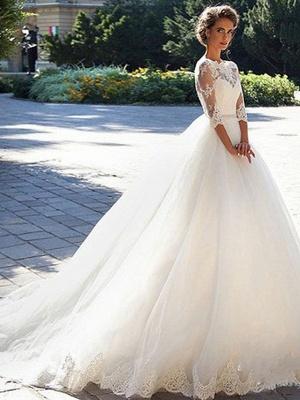 Günstige Brautkleider Prinzessin | Hochzeitskleider Spitze Ärmel_3