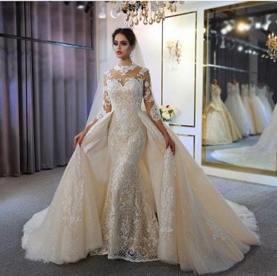 Luxus Hochzeitskleid A linie | Brautkleider Spitzeärmel Günstig_2