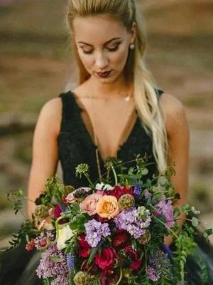 Brautkleid Schwarz | Prinzessin Hochzeitskleider mit Spitze_4