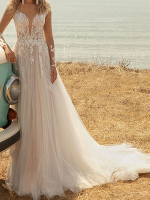 Fashion Brautkleider mit Ärmel | Spitze Hochzeitskleider A Linie_3