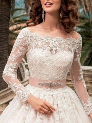 Designer Brautkleider A Linie | Hochzeitskleider Spitzeärmel_3