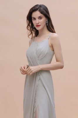 Siber Brautjungfernkleider Lang Chiffon | Schlichtes Abendkleid_10