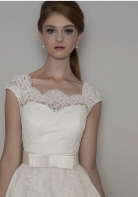 Modern wedding dresses short | A line wedding dresses with lace_3