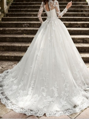 Beautiful wedding dresses A line | Wedding dresses with lace sleeves_2