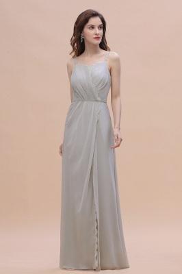 Siber Brautjungfernkleider Lang Chiffon | Schlichtes Abendkleid_6