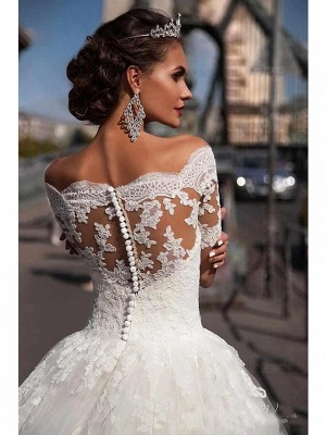 Beautiful wedding dresses short sleeves | Bridal A line with lace_3