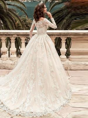 Designer Brautkleider A Linie | Hochzeitskleider Spitzeärmel_2