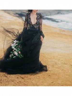 Schwarze Hochzeitskleider mit Ärmel | Spitze Brautkleid Online_2