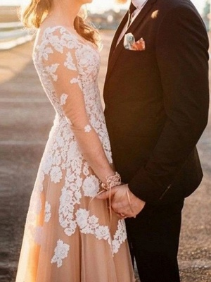 Champagne Wedding Dresses A Line | Wedding dress with sleeves_2