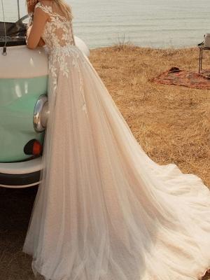 Fashion Brautkleider mit Ärmel | Spitze Hochzeitskleider A Linie_2