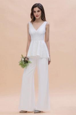 Weiße Brautjungfernkleider Lang Günstig Jumpsuit Chiffon Kleider_4