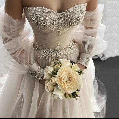 Schlichte Brautkleider A linie | Hochzeitskleider mit Ärmel_3