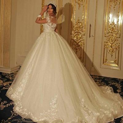 Luxus Hochzeitskleider mit Ärmel | Prinzessin Brautkleid Spitze_3