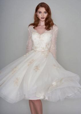 Wunderschöne Hochzeitskleider Kurz mit Ärmel | Spitze Brautkleider A Linie_6