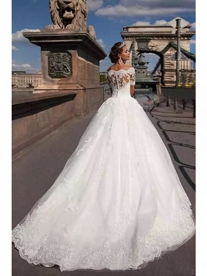 Beautiful wedding dresses short sleeves | Bridal A line with lace_2