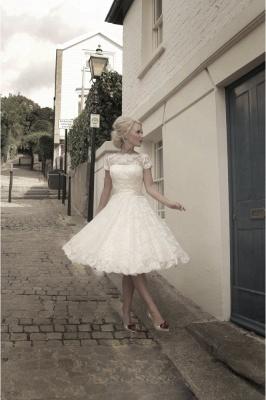 Beautiful wedding dresses A line | Lace wedding dresses short_2
