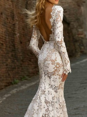 Designer wedding dress mermaid | Lace wedding dresses with sleeves_2