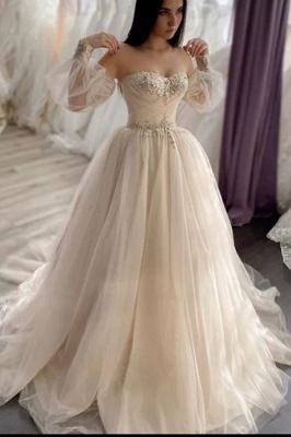 Schlichte Brautkleider A linie | Hochzeitskleider mit Ärmel_1