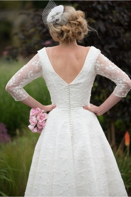 Chic Wedding Dresses Short With Sleeves | Wedding dresses lace A line_3